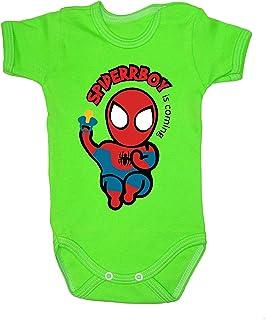 Colour Fashion Body bébé Spiderman manches courtes 100 % coton - 24 mois 0003 (petit bébé, 52 cm, vert)
