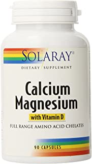 Solaray Calcium & Magnesium w/ D2 Amino Acid Chelate 2:1, Capsule (Btl-Plastic)   90ct