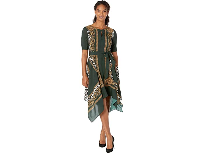 Adrianna Papell Womens 3//4 Sleeve Sheath Border Print Dress