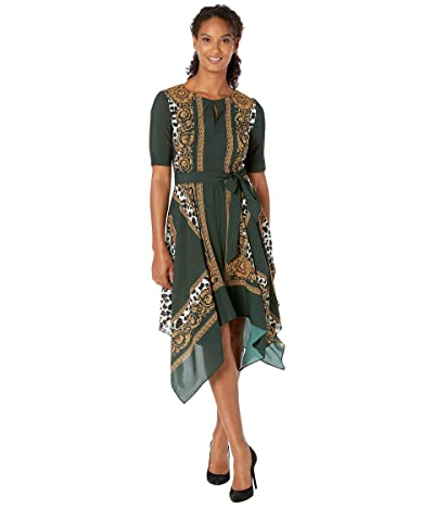 Adrianna Papell Medallion Scarf Animal Print Dress (Green Multi) Women