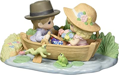 Precious Moments Limited Edition You Make My Heart Leap Couple in Row Boat Bisque Porcelain Home