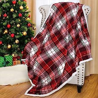 Catalonia Red Buffalo Plaid Sherpa Throw Blanket,Reversible Super Soft Warm Comfy Fuzzy..