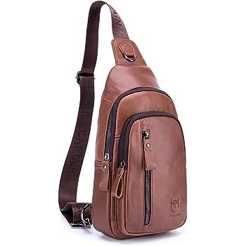 Men/'s Vintage Real Cow Leather Sling Shoulder Bag Cross Body Bicycle Work Bag