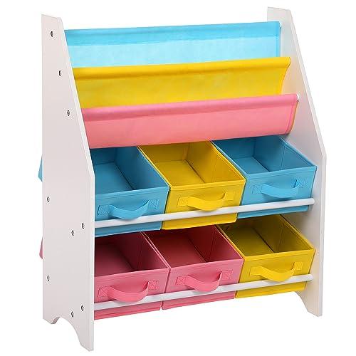 SONGMICS Estantería para Juguetes Organizador de Juguetes Estantería Infantil con Cajas de Colores Cajas de Tela