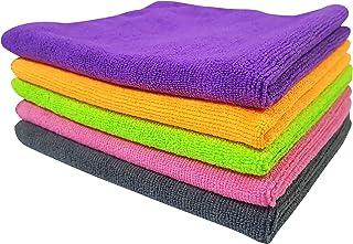 SOFTSPUN Microfiber Cloth - 5 pcs - 40x40 cms - 340 GSM Multi-Color - Thick Lint & Streak-Free Multipurpose Cloths - Autom...