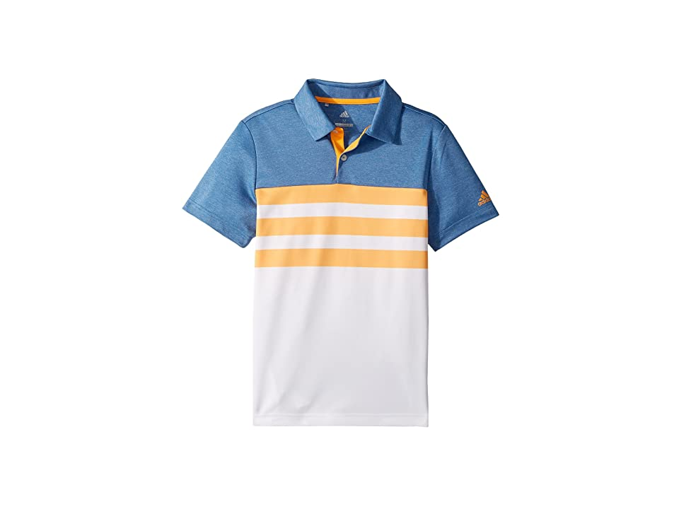 Image of adidas Golf Kids 3-Stripe Fashion Polo (Big Kids) (Real Gold) Boy's Clothing