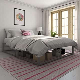 Novogratz Metal Platform Bed with Storage, Gray, Queen