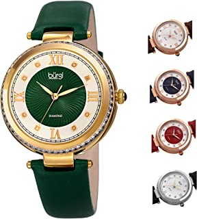 Burgi BUR202 Women's Watch – Baguette Crystal Studded Bezel - Guilloche Dial with Genuine Diamond Markers – Genuine Leather Skinny Strap