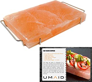 UMAID Natural Himalayan Salt Block Cooking Plate 12 X 8 X 1.5 for Cooking, Grilling, Cutting and Serving, Kosher and FDA Certified Food Grade Salt with Stainless Steel Tray Set with Recipe Book