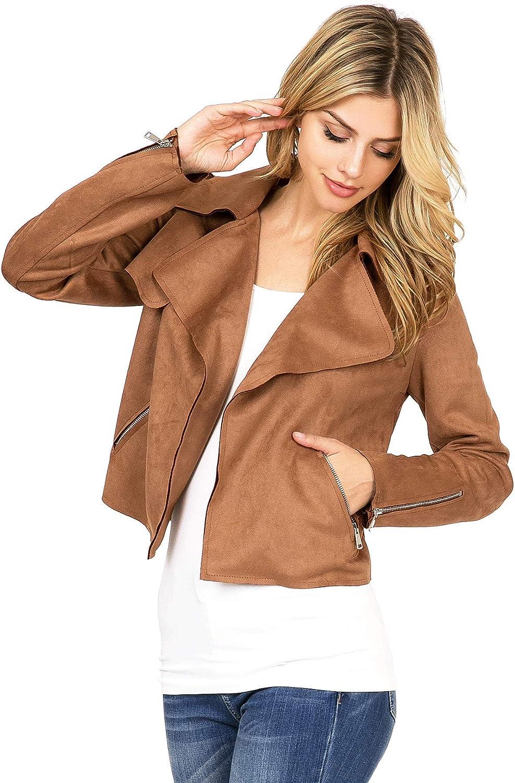 Haute Monde Women's Casual Faux Suede Moto Jacket