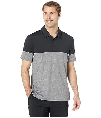 adidas Golf Ultimate 3-Stripes Heather Blocked Polo (Grey Five Heather/Black) Men