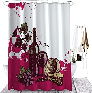 ZXAWT Brand Waterproof Bathroom Shower Curtains Red Wine Material Pictures(94