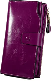 YALUXE Women's Leather Clutch Wallet RFID Blocking Large Capacity Card Holder Organizer Ladies Purse Wallets for Women