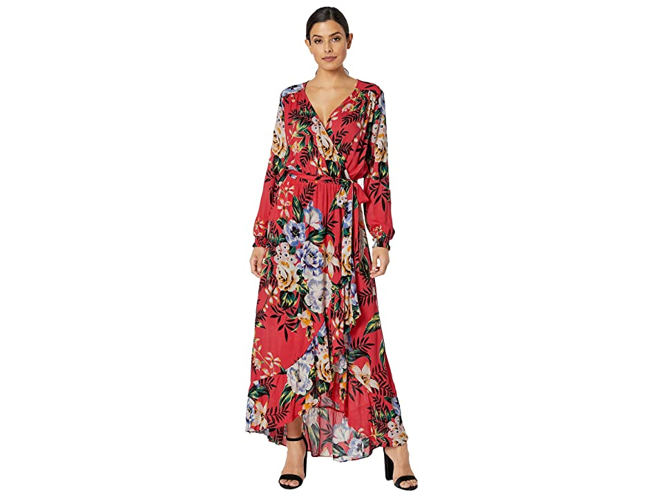 eci Tropical Floral Maxi with Ruffle Hem (Red) Women