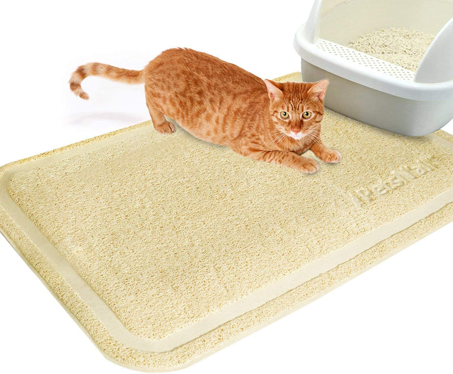 Cat Litter Mat by PetsN'all  Catch All Easy to Clean Litter Box Mat  Beige, Extra Large (35.5 x 24  90 x 60 centimeters)