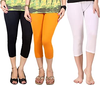 Q-rious (Pack of 3 Women's Cotton Lycra Capri/Three fourths for Casual/Sports/Gym Wear