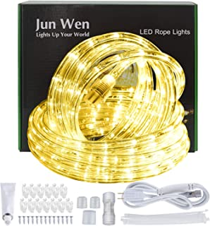 JUNWEN Warm White LED Rope Lights 432 LEDs Outdoor Indoor 39ft/12m 110V Waterproof Plugin Decorative String Ribbon Lighting Connectable Connector for Pool, Camping, Bedroom Decor, Landscape Lighting
