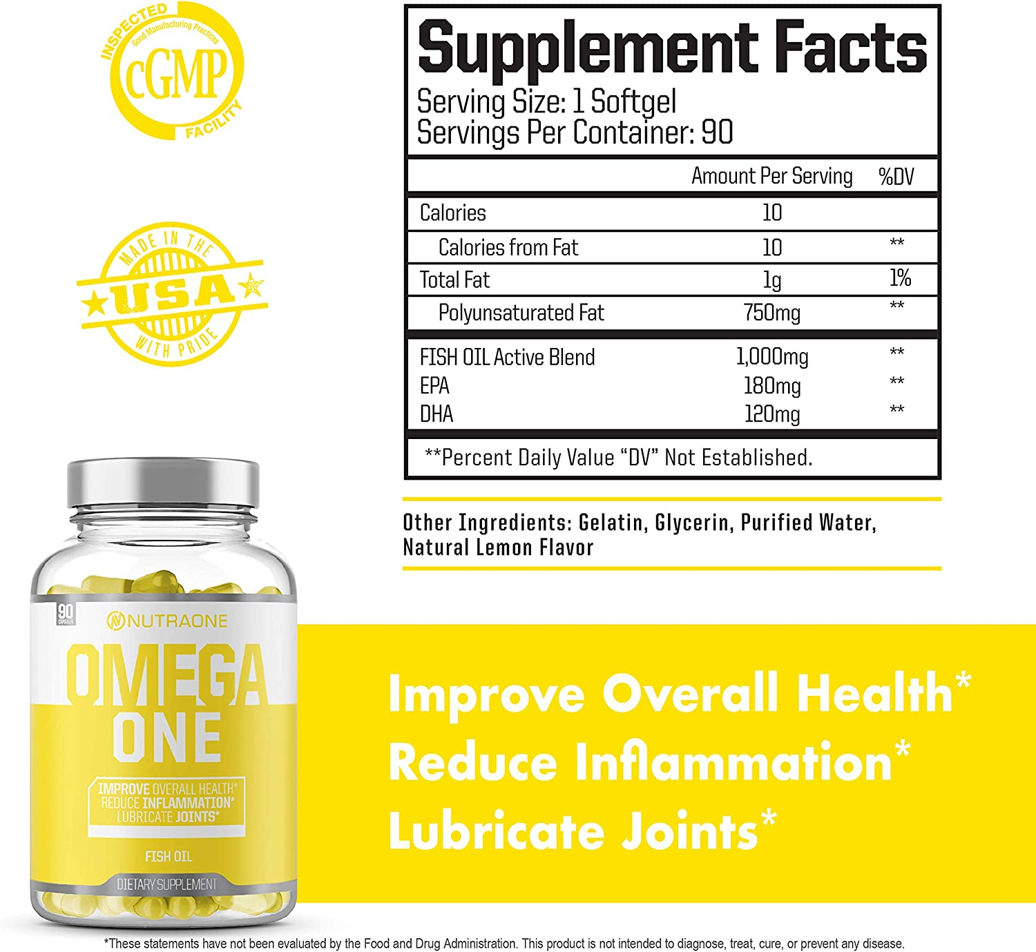 OmegaOne Omega-3 Fish Oil Supplement by NutraOne (90 500mg Fish Oil Pills)