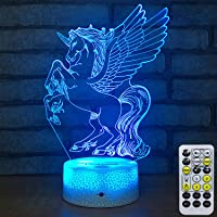 Toorggoo Unicorn 7 Colors Change Timer 3D Night Light Lamp with Remote Control