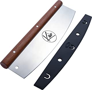 """a Pizza Cutter by Kaio, Silver Mahogany Wooden Handle Cutter Pizza, Pizza Cutter Rocker Blade, 13.75"""", Compatible with Pizza Oven Accessories ,Pizza Stone ,Waffle Maker, Panini Press, Tortilla Press"""