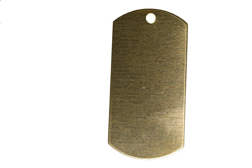 RMP Stamping Blanks, 1 Inch x 2 Inch Dog Tag w/One Hole, Brass 0.032 Inch (20 Ga.) - 50 Pack