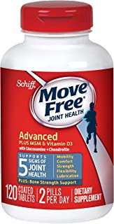 Glucosamine and Chondroitin Plus MSM & D3 Advanced Joint Health Supplement Tablets, Move Free (120 Count in A bottle), Supports Mobility, Comfort, Strength, Flexibility and Lubrication*