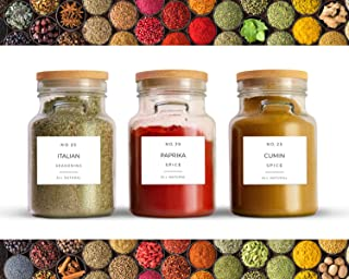Mezcla de condimentos – 40 etiquetas rectangulares preimpresas para frascos, contenedores o tapas, diseño moderno minimali...