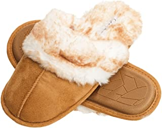 Comfy Faux Fur Womens House Slipper Scuff Memory Foam Slip On Anti-Skid Sole