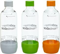 SodaStream Aktions-Set Pet-Flaschen 2+1, 3x 1 L PET-Flaschen aus bruchfestem kristallklarem PET, orange/grün/weiß