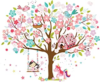 Kath & Cath Rainbow Unicorn, Pink Fairy, Gingerbread House, Singing Birds and Cherry Blossoms Tree Wall Stickers -Kids Girls Room Vinyl Removable Self-Adhesive Multi-colour Wall Mural Art Decoration