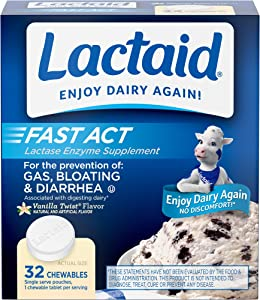 Lactaid Fast Act Lactose Intolerance Chewables with Lactase Enzymes, Vanilla, 32 x 1 ct