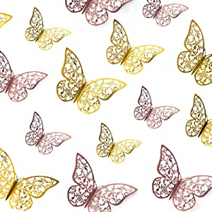 48 Pcs Butterfly Wall Deor Stickers, 3 Sizes Butterfly Decorations, 3D Butterfly Party Decorations/Birthday Decorations/Cake Decorations, Rose Gold and Gold Butterflies for Wall Decor Room Decor