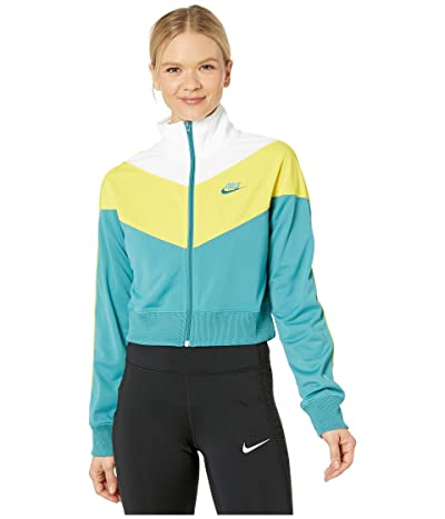 Nike NSW Heritage Track Jacket Poly Knit (Mineral Teal/Chrome Yellow/Mineral Teal) Women