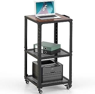 Fenge Bureau d'Ordinateur avec roulettes Table Informatique Amovible avec Étagères de Rangement,Chariot d'Ordinateur Poste...