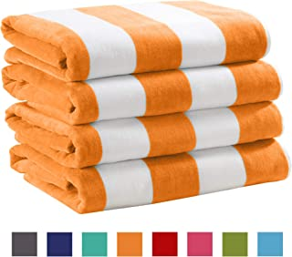 Great Bay Home 4 Pack Plush Velour 100% Cotton Beach Towels. Cabana Stripe Pool Towels for Adults. (Orange, 4 Pack- 30