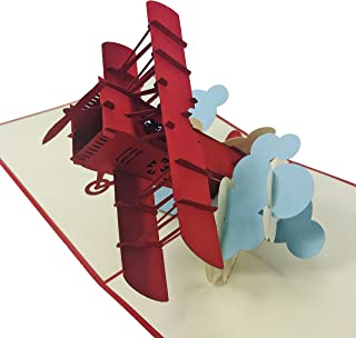 Red Airplane - Wow 3D Pop Up Card for All Occasions - Birthday, Congratulations, Good Luck, Anniversary, Get Well, Love, Good Bye