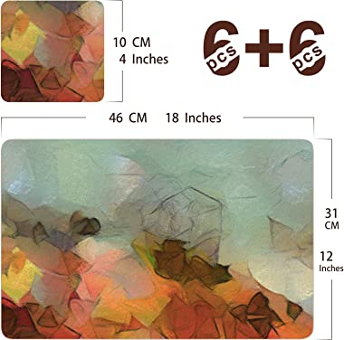 Firbon 12Pcs Placemats with Coaster Set, Thick MDF Cork-Backed Place Mats, Heat Stain Resistant Anti-Skid 18 x 12 Inch Kitche