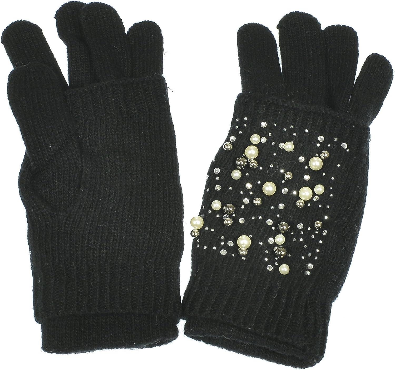 Hand By Hand Knitted Gloves 2 in 1 Fingerless Full Fingered Rhinestone