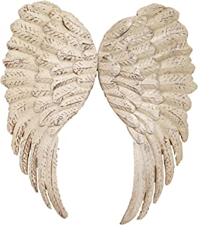 Vintage Metal Angel Wings Ivory Aged Distressed Industrial Farmhouse Wall Shelf Decor 24 Inch Set of 2