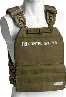 CapitalSports Capital Sports Battlevest 2.0 Chaleco de Pesas - Diferentes Pesos, Alta Comodidad de Uso y óptima distribución del Peso Gracias al Grueso Acolchado en los Hombros, Negro