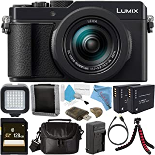 Panasonic Lumix DC-LX100 II Digital Camera (Black) + DMW-BLG10 Lithium Ion Battery + External Rapid Charger + 128GB SDXC Card + Small Soft Carrying Case + Flexible Tripod + Deluxe Cleaning Kit Bundle
