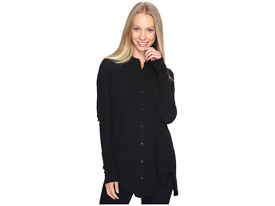 Mod-o-doc Textured Slub Stripe Back Crossover Button Front Shirt (Black) Women
