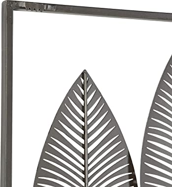 """Deco 79 65650 Large Textured Brown, White, Gray & Black Metal Leaf Wall Art, 59""""x37"""""""