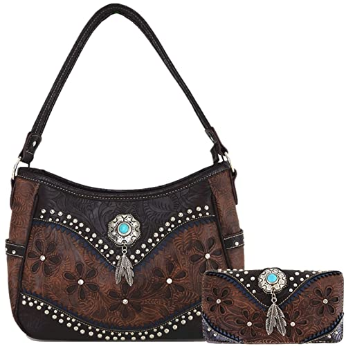 Tooled Leather Laser Cut Concealed Carry Purses Feather Country Western Handbags  Shoulder Bags Wallet Set c46ceb299e4e6