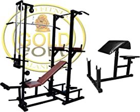 GOLD FITNESS Combo ABS Tower with 20 in 1 Bench (2X4 Pipe Size Heavy Duty Bench) + Preacher Bench for Exercise