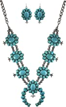 Turquoise Vintage Squash Blossom Metal Statement Necklace/w Earrings No.885