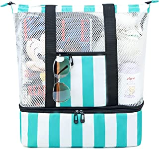 BLUBOON Mesh Beach Tote Bag with Cooler Compartment, Insulated Detachable Picnic Cooler Bag and Solid Zip Top Closure, Pool Bag Toys Tote Bag Travel Shoulder Bag (Turquoise)