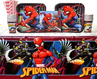 Cedar Crate Market Spiderman Party Supplies Pack for 16 Guests: Straws, Dinner Plates, Luncheon Napkins, Cups, and Table Cover (Bundle for 16)