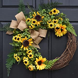 Yellow Sunflower and Boxwood Grapevine Wreath with Green Ferns and Burlap Bow for Summer Fall Farmhouse Front Door Decor; Personalized Monogram Option