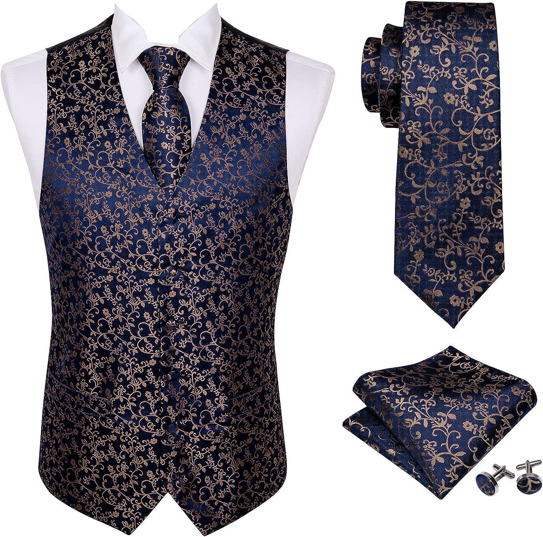 Classic Men Waistcoat Set,Paisley Flower Tie Pocket Square Cufflink Gold Brooch 5PCS WOVEN Tuxedo Suit Vest